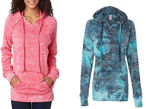 Weatherproof Ladies Burnout Hooded Pullover Fleece Burnout Hoodies Colorful Hoodies LARGE CORAL-BAHAMA by MV Sport