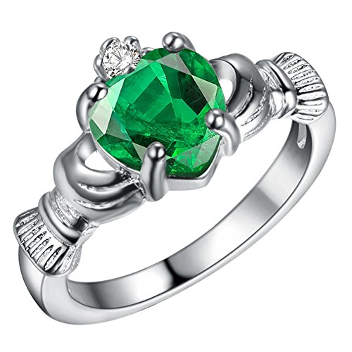 Silver Plated Heart Shape - WIBERN Silver Plated Heart Shape Crystal Stone Claddagh Ring, Charm Engagement Rings for Women (Color-Size:Green-9)