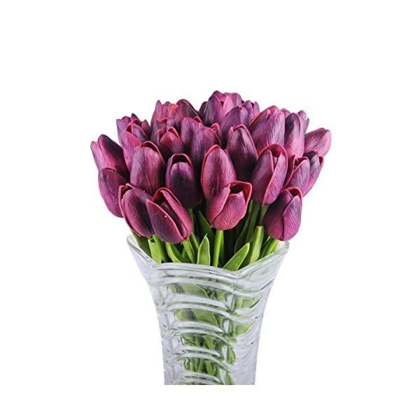 OUUD 10 PCS Artificial Tulip Silk Flower Latex Real Touch Fake Flowers for Wedding Home Office Party Decor Bridal Wedding-13 Inches (Dark Purple)