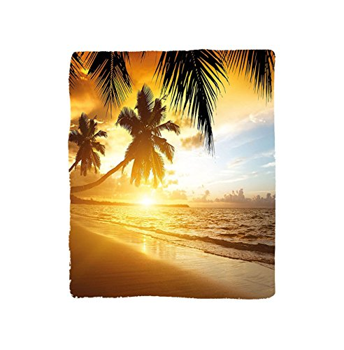 VROSELV Custom Blanket Tropical Sunset on the Beach of Caribbean Sea Palm Trees in Seashore Scenic Exotic View Soft Fleece Throw Blanket Orange Yellow