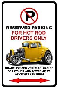 1930de la Classic Hot Rod Muscle car-toon no parking sign