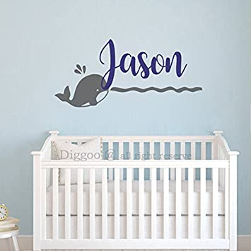 Amazoncom Nautical Wall Decal Whale Name Wall Decal - Baby name wall decals
