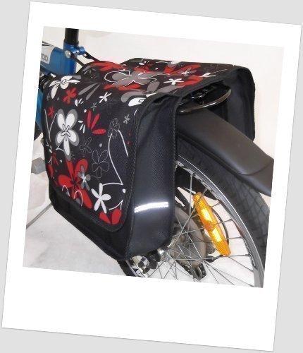 T-JOY-12 Fahrradtasche JOY Flower red Kinderfahrradtasche Satteltasche Gepäckträgertasche 2 x 5 Liter KINDER