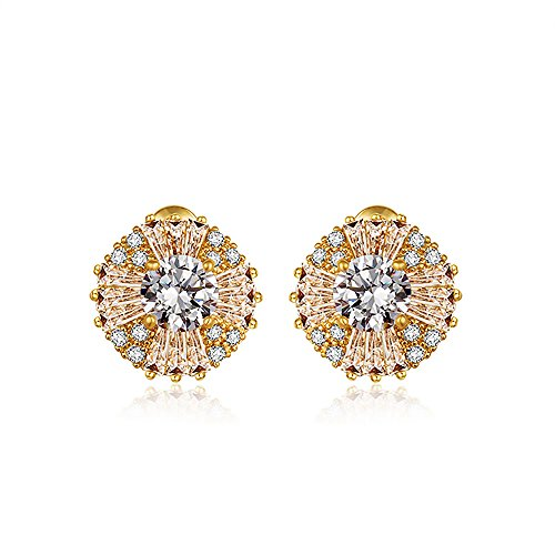 14K Gold Plated 1CT Round Cut Hola Cubic Zirconia Stud Earrings, CZ Fashion Studs for Girls, CZ earrings, Fashion Earrings, by CRYSTAL LEMON