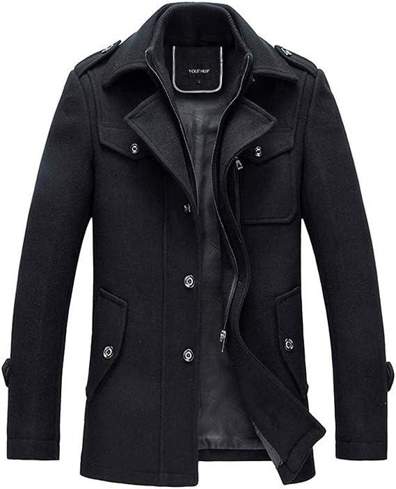 Slim Fit Casual Blouson Coat Laine Parka élégant Trench Caban Veste Chaud Manteau Coat Homme Hiver cTJF3lK1