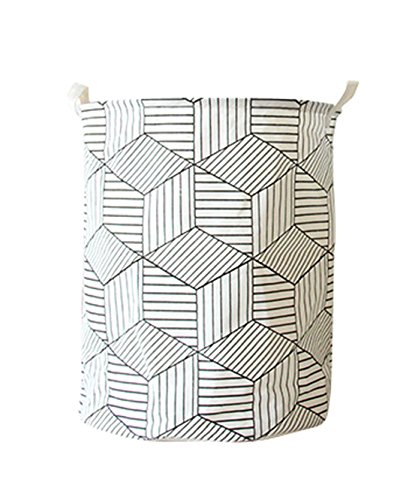 HIYAGO Large Sized Storage Baskets with Handle,Collapsible & Convenient Home Organizer Containers for Kids Toys,Baby Clothing(White rhombus)