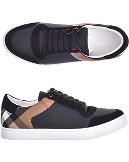 9462d65feacbf Burberry Sneakers Scarpe Uomo in Pelle e Tessuto Modello 4054021 Nero +  Check