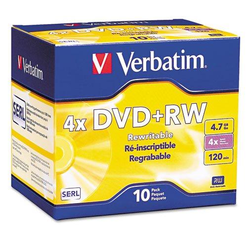 DVD+RW Discs, 4.7GB, 4x, w/Slim Jewel Cases, Pearl, 10/Pack