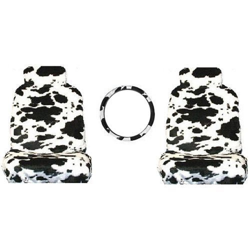 5 Piece Safari Animal Print Automotive Interior Gift Set and 2 Seat Belt Shoulder Pads Cow Universal Fit Steering Wheel Cover 2 Low Back Bucket Seat Covers with Separate Head Rests