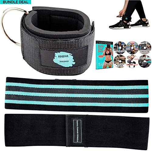 - Serena Hannah Athletics Padded Ankle Strap for Cable Machines and Non Slip Hip and Booty Resistance Band. Access to Build Your Body Video Series for Leg, Butt, Thigh Workouts with Gym Accessories