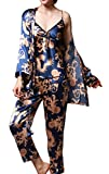 (US) Jusfitsu Women's Pajama Sets Elegance 3pcs Silk Pajamas Womens Sleepwear Sets Blue XL