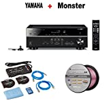 Yamaha Expandable Audio & Video Component Receiver,Black (RX-V483BL) + Monster Home Theater Accessory Bundle + Monster - Platinum XP 50' Compact Speaker Cable Bundle