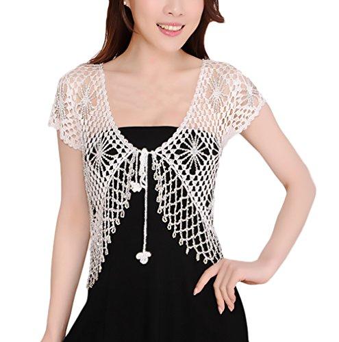 Donna Coprispalle Corto Bolero Elegante Vintage Mode Giovane Abbigliamento Manica Corta Crochet Hollow Da Cerimonia Da Sera Banchetto Cardigan Top Bianco