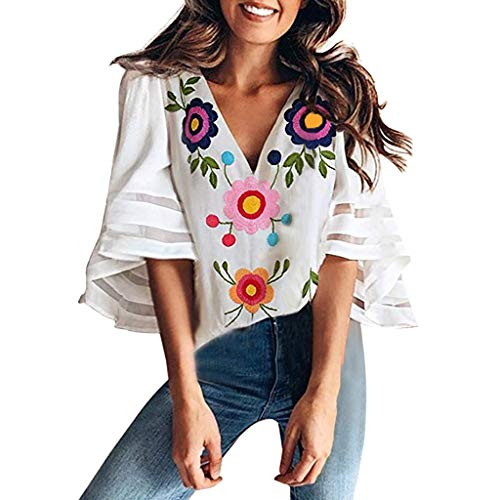 NEARTIME Womens Shirts, 2019 New Lady Print Splice V Neck Tops Lace Patchwork Blouse Casual Loose Shirt Tank Tops
