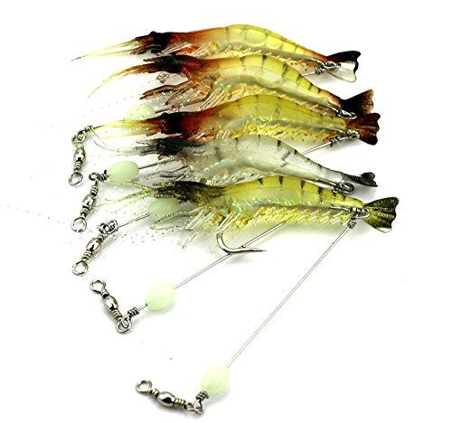 Hengjia 6pcs/lot luminous shrimp soft pike fishing lures wobble bass fishing baits pesca fishing tackles 7.5cm 6.6g