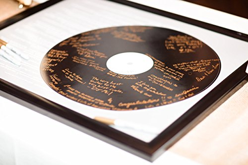 Realistic Record Wedding Song Guest Book Alternative -First Dance Lyrics - Couples Shower Guestbook - Vinyl Record Guest Book Print - You Provide Song Lyrics - Unframed -20x24 - Approx. 50-100 Sigs (Unframed Vinyl)