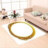 Sophiehome skid Slip rubber back antibacterial Area Rug golden oval frame with ornaments in gold for pictures or mirror 215370073 Home Decorative