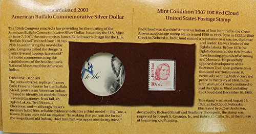 51SlCS7aR6L - 2001 The American Buffalo Coin and Currency Set With Stamp and replica Silver 5 dollar Certificate. No Coin! .