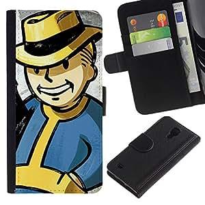 NEECELL GIFT forCITY // Billetera de cuero Caso Cubierta de protección Carcasa / Leather Wallet Case for Samsung Galaxy S4 IV I9500 // Vintage Bóveda Boy Retro