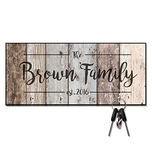 Personalized Rustic Wood Plank Look Family Key Hanger