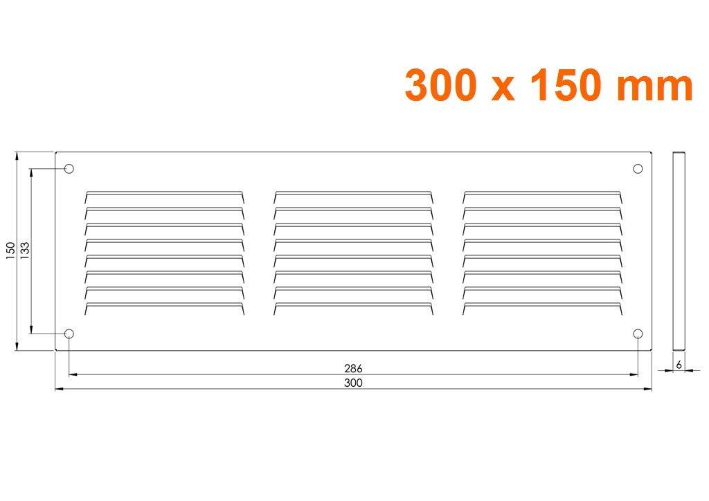 aus Stahlblech L/üftungsgitter 300x150mm mr3015 mit Insektenschutz Wetterschutzgitter Abluftgitter Wei/ß