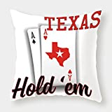 Cotton Linen Throw Pillow Cushion Cover,Poker Tournament Decorations,Texas Holdem Theme Pair of Aces with Map Winning Hand Decorative,Red Black White,Decorative Square Accent Pillow Case