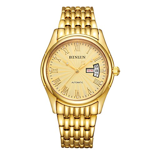 BINLUN Mens Gold Wrist Watch Waterproof Automatic Mechanical Watches for Men with Date