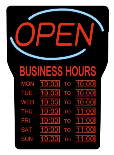 Royal Sovereign NEON LED Open Sign with Hours, Electric open sign advertisement for business, window, bar, wall, shop, hotel, Ultra-Bright, Flashing  (RSB-1342E) (Led Tech Sign)