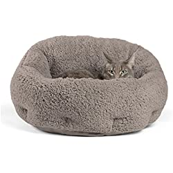 """Best Friends by Sheri OrthoComfort Deep Dish Cuddler (20x20x12"""") - Self-Warming Cat and Dog Bed, Gray"""