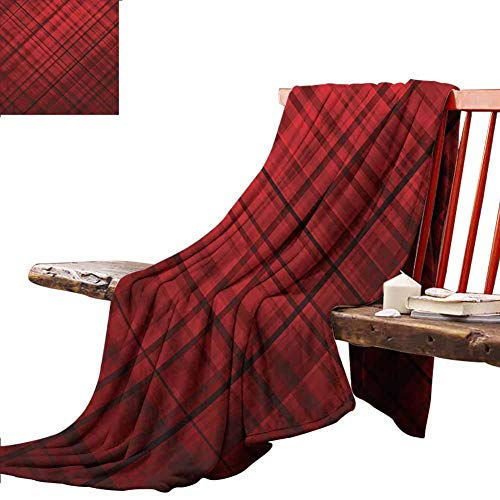Homrkey Red and Black Lightweight Blanket Scottish Kilt Pattern,70 x 70 Inch, Bed Couch Chair Fall Winter Spring Living Room (Chair Kilt)