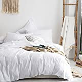 Merryfeel 100% Cotton Woven Stripe Duvet Cover Set-White Stripe Full/Queen
