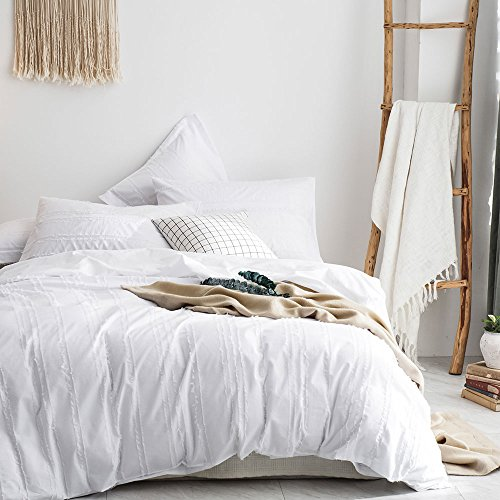 - Merryfeel 100% Cotton Woven Stripe Duvet Cover Set-White Stripe Full/Queen
