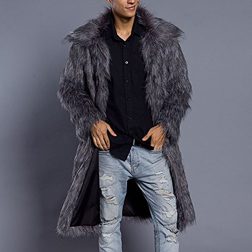 Lemumu imitation Smooth Collar sleeved winter long Daily fur Solid Plus fur autumn Casual Silver Men Long Chunky Size coat rxXwrzR1