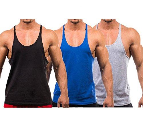 Tank Bodybuilding - YAKER Men's Blank Stringer Y Back Bodybuilding Gym Tank Tops (L, Black/Blue/Grey-3Pcs)