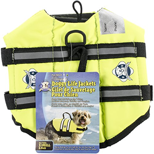 Paws Aboard Designer Doggy Life Jacket, Neon Yellow, X-Small