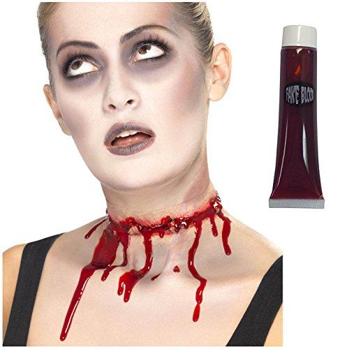 Open Flesh Wound Injury Cut Latex Scar Dead Zombie Slashed Neck + Blood ()