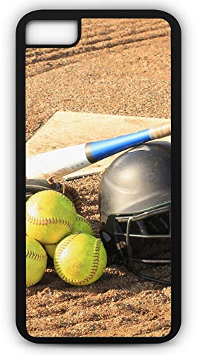 iPhone 8 Plus 8+ Case Softball Glove Bat Balls Home Plate Customizable by TYD Designs in Black Rubber ()