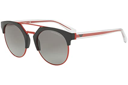 23a435b52896 Amazon.com  Emporio Armani EA4092 Sunglasses Black Red w Gray ...