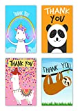 Greetingles Pack of 16 Fun Novelty Design Thank-You Cards & Envelopes Lllama, sloth, panda and unicorn