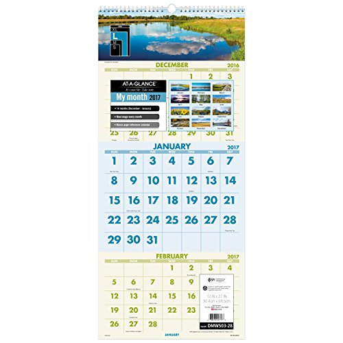 AT-A-GLANCE Wall Calendar 2017, 3 Month View, 12 x 27