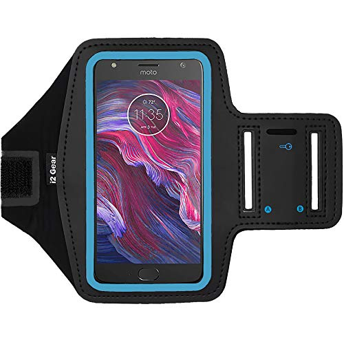 i2 Gear Cell Phone Armband Case for Running - Workout Phone Holder with Adjustable Arm Band, Reflective - Large fits Moto X4, Motorola Droid Turbo 2, Moto G5 Plus, Moto X Force, G5S, MAXX (Cyan)