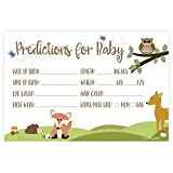 Woodland Animals Baby Shower Predictions Cards (50 Count)
