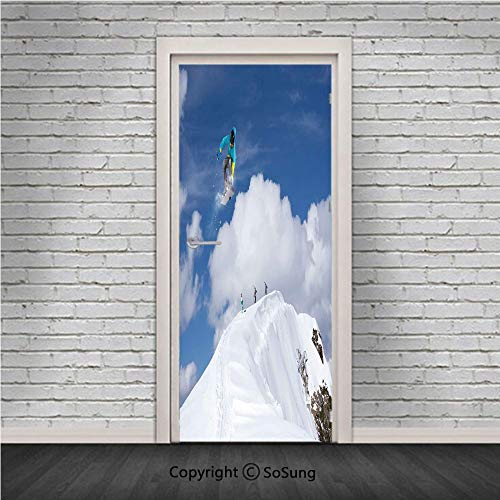 (Winter Door Wall Mural Wallpaper Stickers,Flying Snowboarder on The Mountaintop with Cloudy Sky Extreme Sports Theme Photo,Vinyl Removable 3D Decals 30.4x78.7/2 Pieces Set,for Home Decor Blue White)