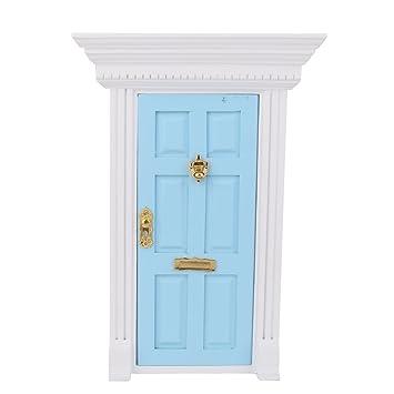 Amazon.es: 1/12 Puerta Exterior Azul en Miniatura Madera Accesorio Decorativo para Casa de Muñecas: Juguetes y juegos