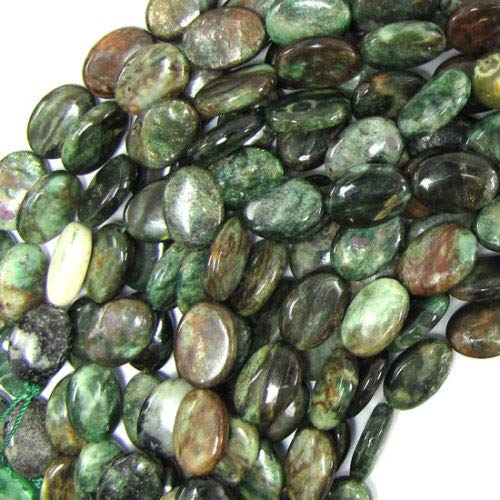 Ruby Zoisite Flat Oval Beads - 10x14mm Ruby Zoisite Flat Oval Beads 16
