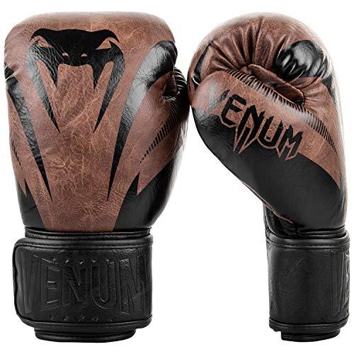 Venum Impact Classic Boxing Gloves - Black/Brown -16oz