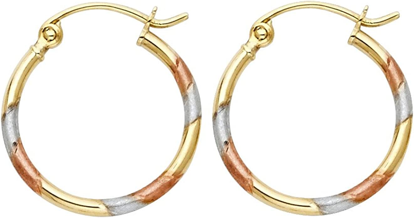 15mm Diameter 14k Tri Color Gold Etched Heart Bangle Hoop Earrings