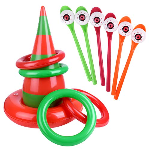 FEPITO Halloween Party Relay Game Set, 6 Pack Halloween Eyeball Spoon Game and 1 Pack Inflatable Elf Hat Ring Toss Game, Perfect Halloween Games for Kids Halloween Party Supplies