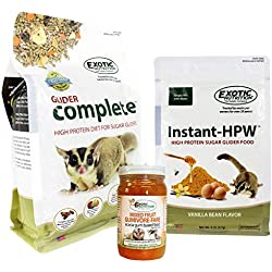 Sugar Glider Deluxe Food Starter Package - Nutritionally Complete Pellet Diet, High Protein Supplemental Food & Acacia Gum Based Treat for Sugar Gliders
