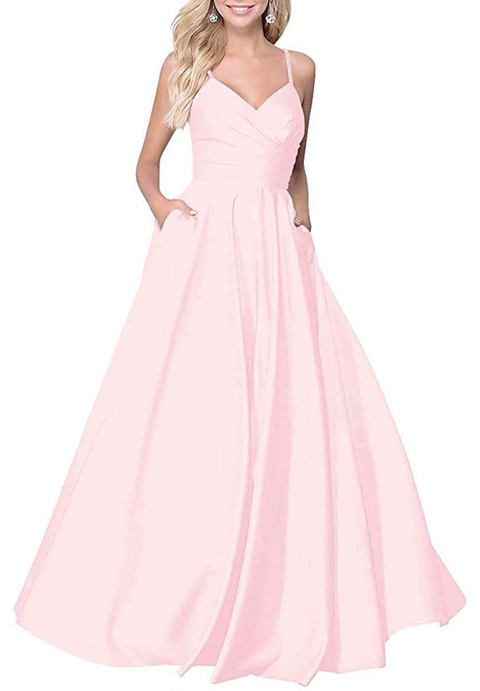 blueshing Pink RTTUTED Satin ALine Long Prom Dresses for Women V Neck Formal Evening Gown with Pockets
